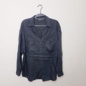 Zara Grey Button Up Tencel Shirt